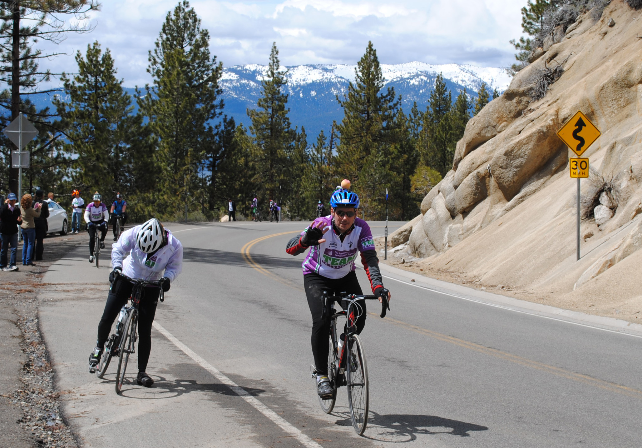 I am about halfway up the long Spooner mountain climb at Lake Tahoe, only 15 miles from the finish line