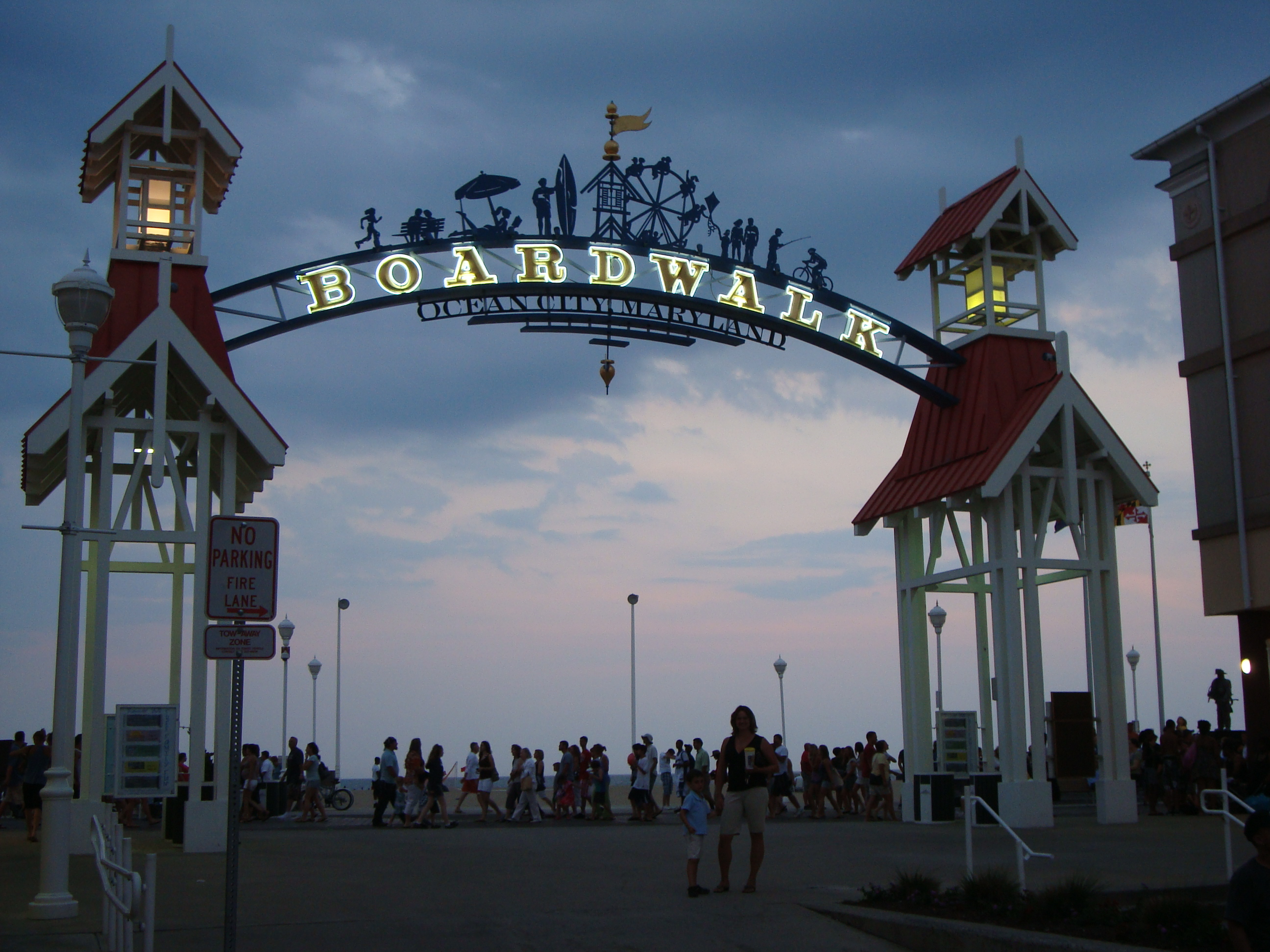 Boardwalk sign at Ocean City Maryland at dusk