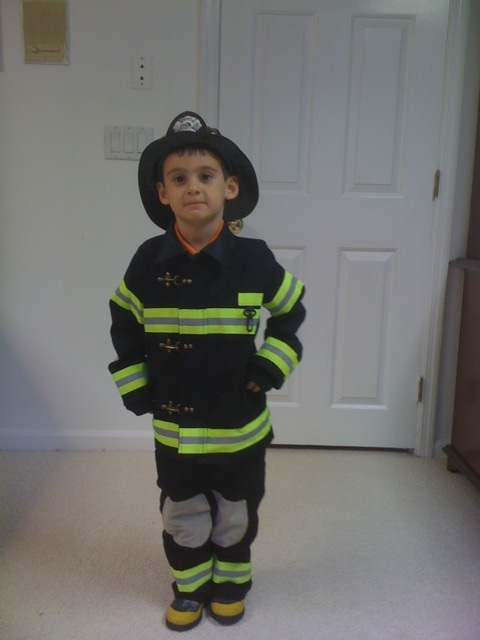 Dominic in his fireman costume